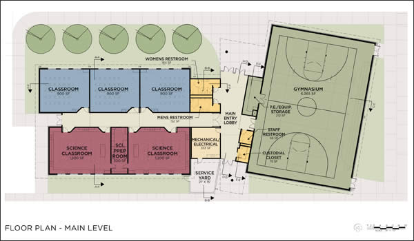 Facility kentlake gymnasium for Basketball gym floor plan